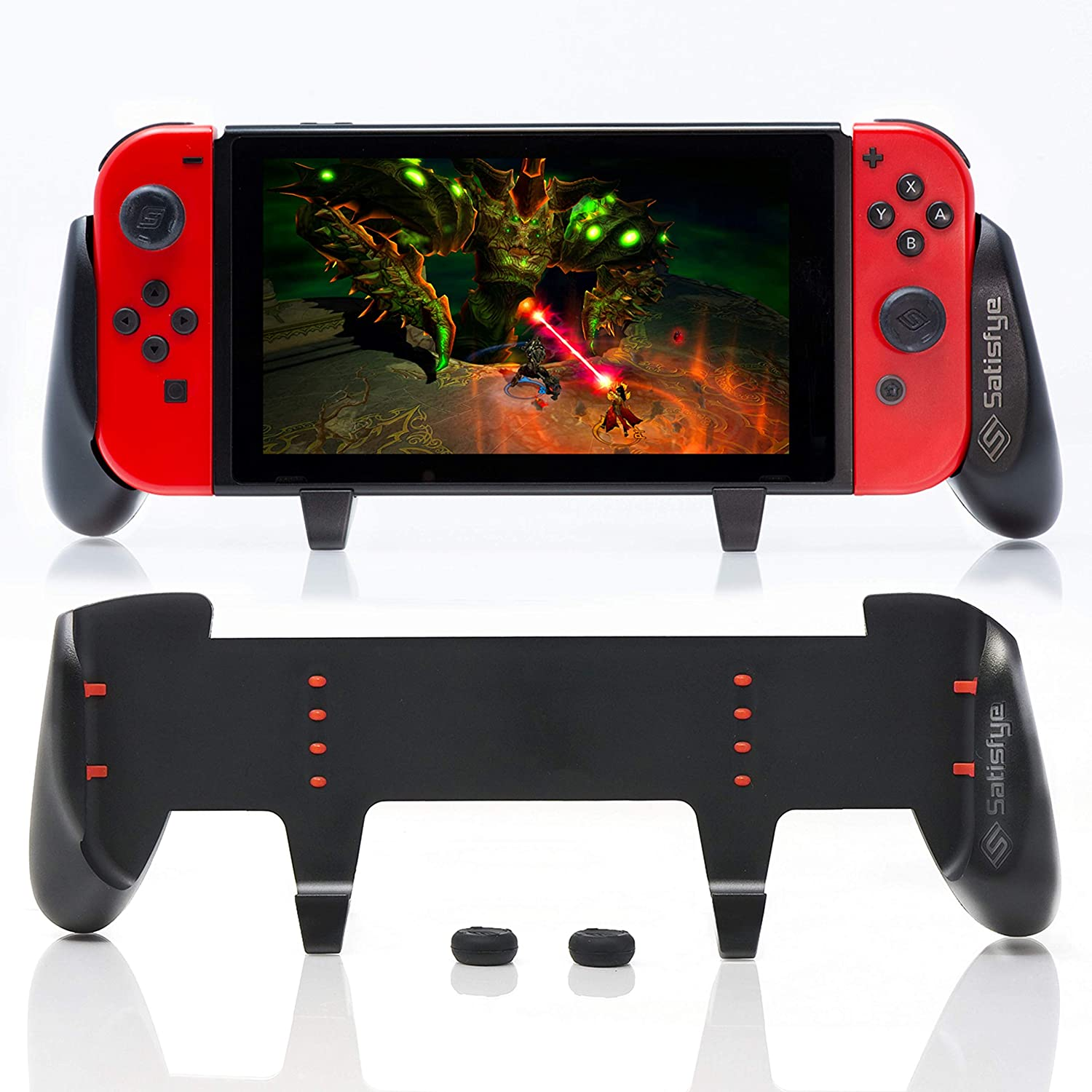 Amazon Com Satisfye Zengrip Pro A Switch Grip Compatible With Nintendo Switch Comfortable Ergonomic Grip Joy Con Switch Control 1 Switch Accessories Designed For Gamers Bonus 2 Thumbsticks Video Games