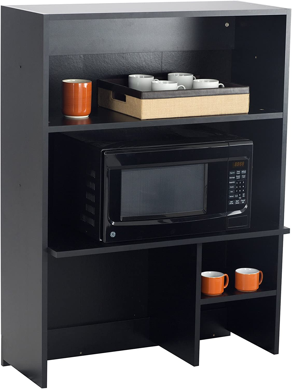 Safco Products Modular Hospitality Breakroom Top Cabinet, Appliance Hutch, Asian Night Base/Black Top
