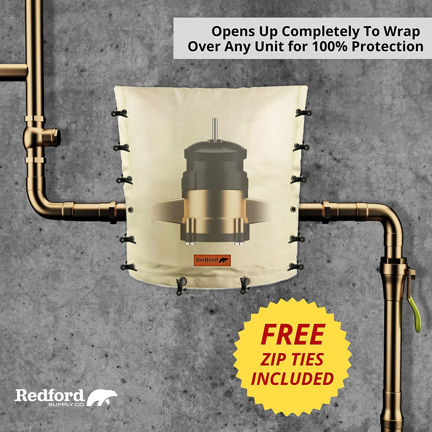 Redford Supply Customizable Backflow Preventer Insulation Outdoor Pipe Cover for Winter Freeze Protection Well Cover Irrigation Waterproof Pouch 14W x 18H, Beige Sprinkler Valve Cover