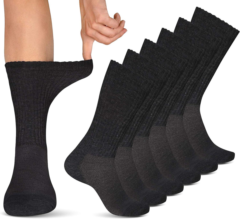 Diabetic Socks Women & Men | Wide Non Binding Edema, Neuropathy Socks (6-pairs): Clothing