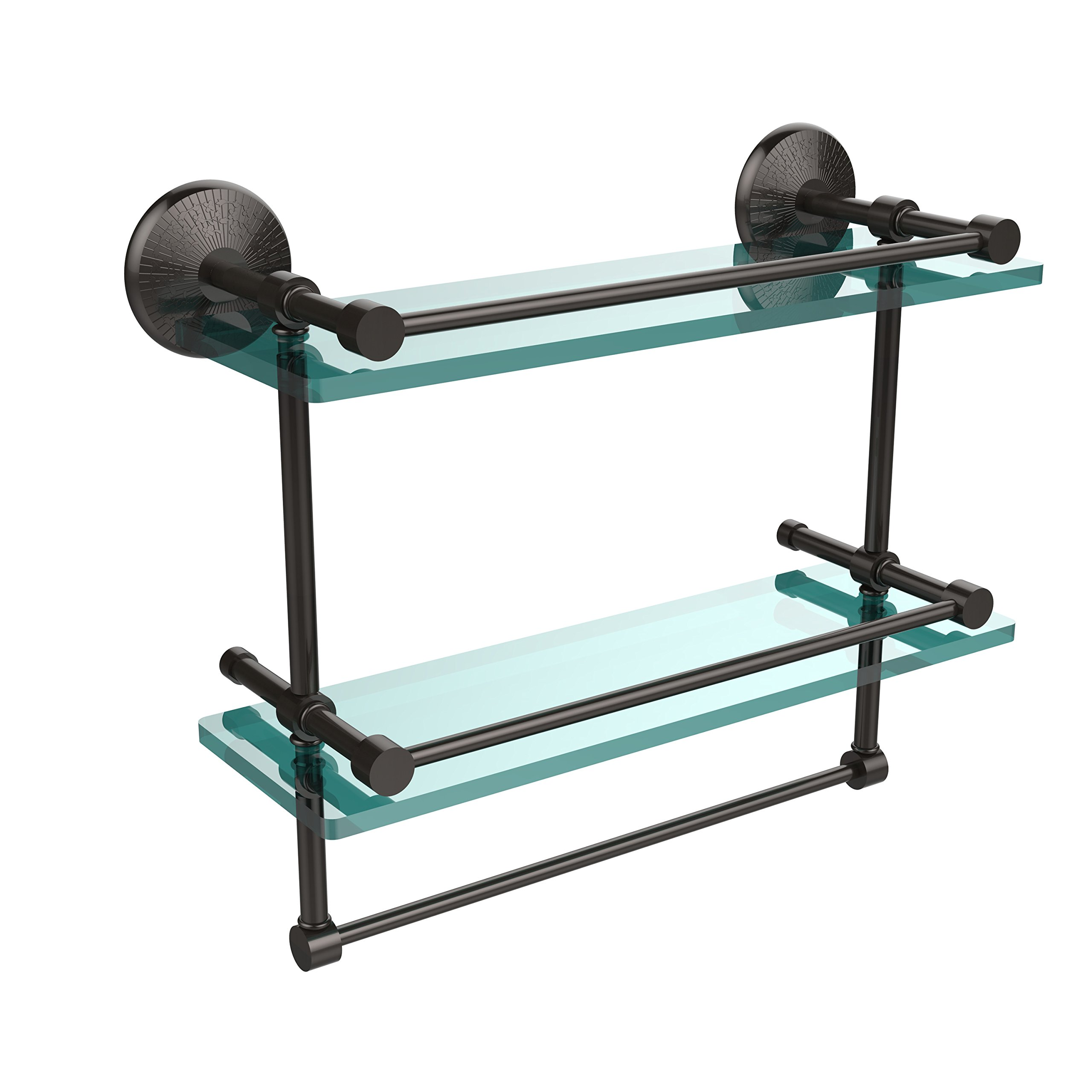 Allied Brass MC-2TB/16-GAL-ORB 16-Inch Gallery Double Glass Shelf with Towel Bar, Oil Rubbed Bronze by Allied Precision Industries