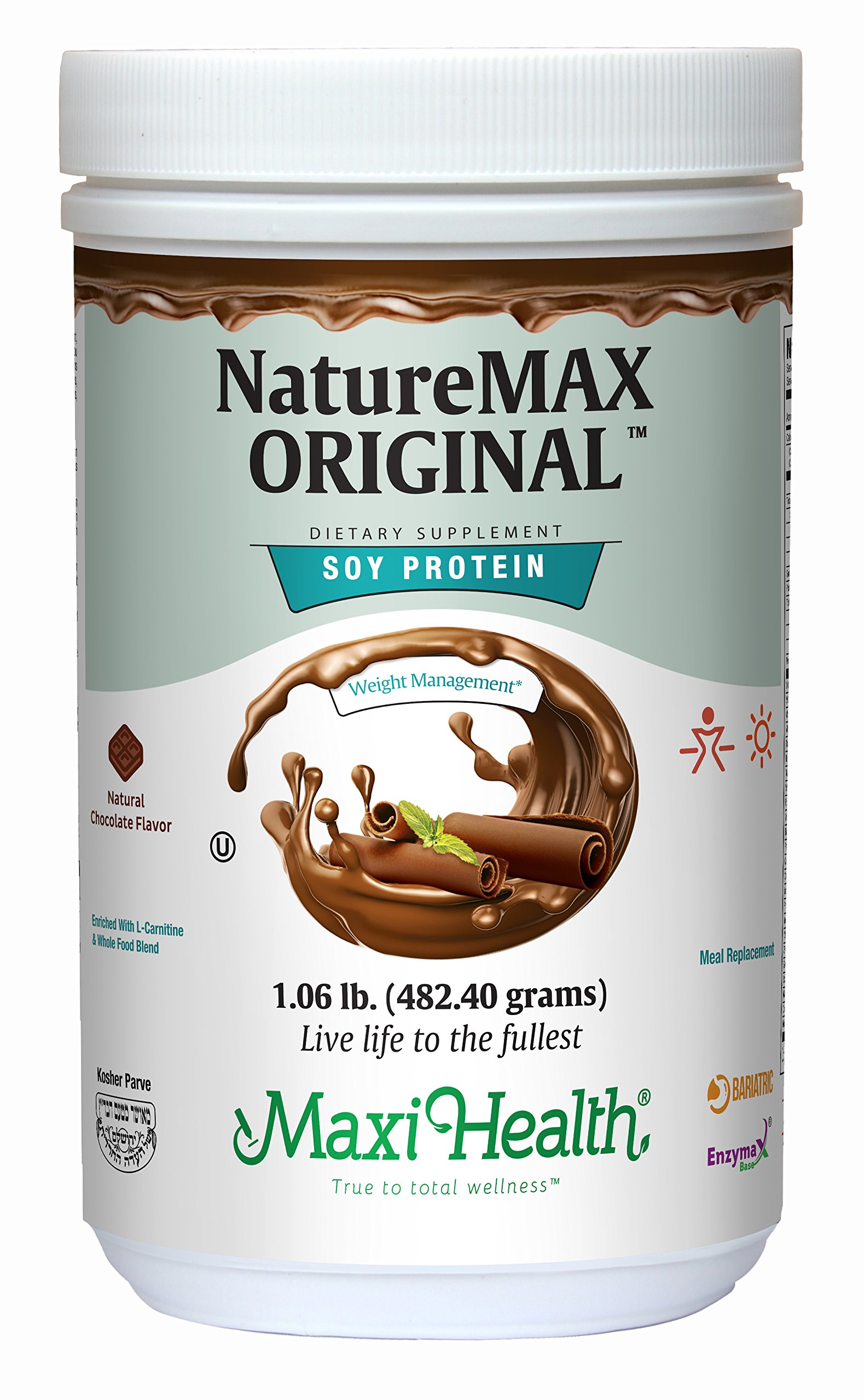Maxi Health Naturemax - Soy Protein - Rich Chocolate - Diet & Energy Support - 1 lbs Powder - Kosher