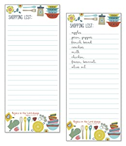 Set of 2- Groovy Kitchen List Pad, Notepad, Shopping List with Attachable Magnet WITH SCRIPTURE