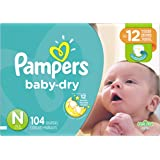 Pampers Baby Dry Diapers, Size N, Super Pack, 104 Count
