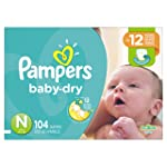 Pampers Diapers Size Newborn 4.5 kg, Baby Dry Disposable Baby Diapers, 104 Count, Super Pack (Packaging May Vary)