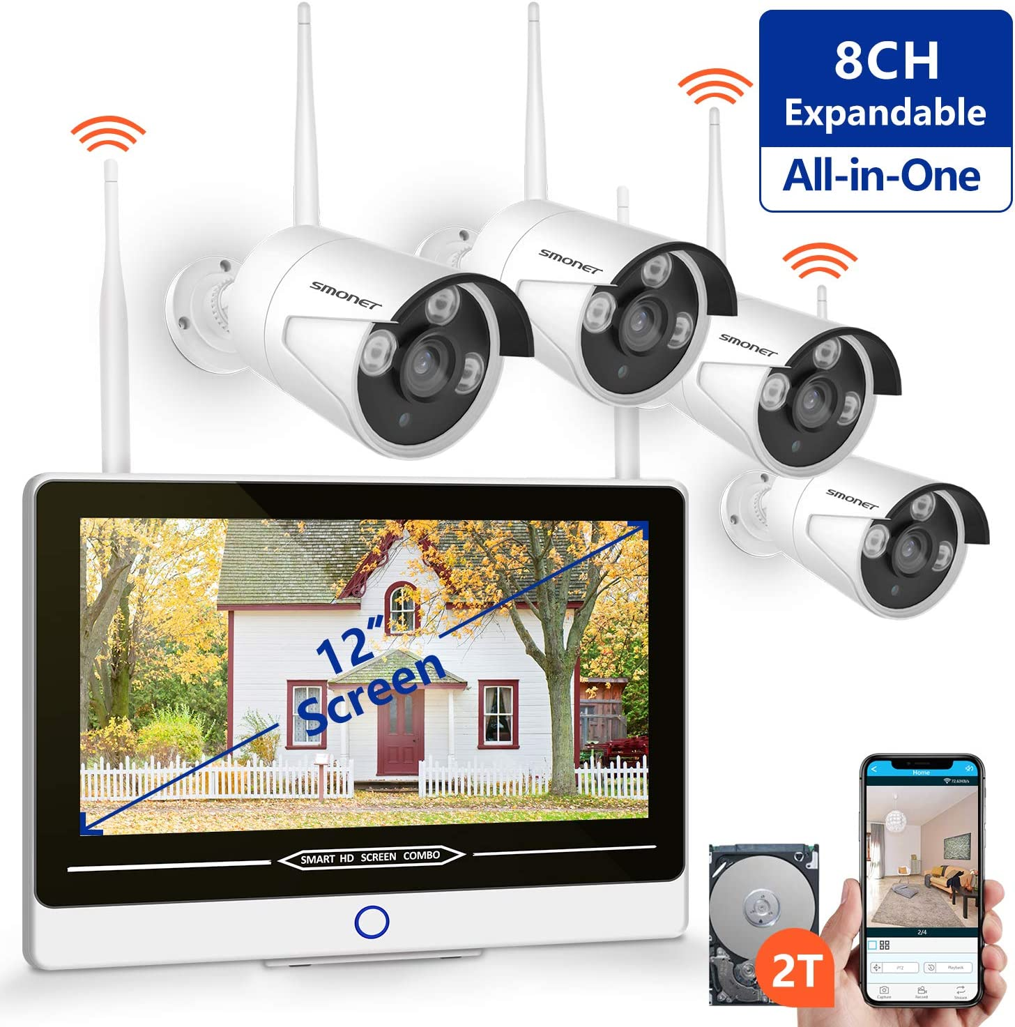2019 New All in One with 12 Monitor 1080P Security Camera System Wireless,SMONET 8-Channel Outdoor Home Camera System 2TB Hard Drive ,4pcs 2.0MP 1080P Waterproof Wireless IP Cameras,P2P,Free APP
