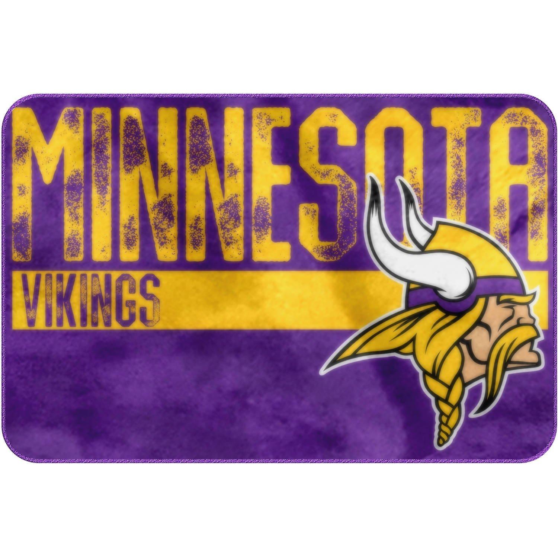 "20"" X 30"" NFL Vikings Mat For Boys, Football Themed Bath Rug Sports Patterned Rectangular Bathroom Carpet, Team Logo Fan Merchandise Athletic Spirit, Purple, Gold, White Polyester"