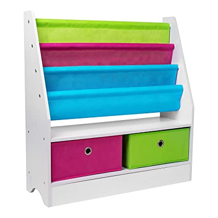 Bookcase For Children Kids Wooden Colourful Sling Bookshelf Book Rack Display Shelves Organizer With 2 Canvas