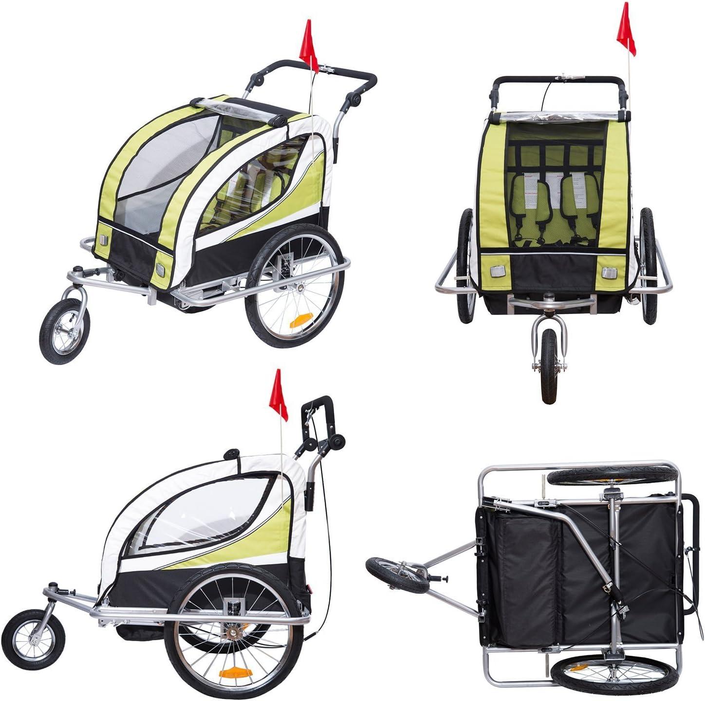 HOMCOM Remolque para Bicicleta tipo Carro con Barra de Paseo para Ni/ños de 2 Plazas con Rueda Delantera Giratoria 360/° y Asiento Acolchado Carga M/áx 40kg