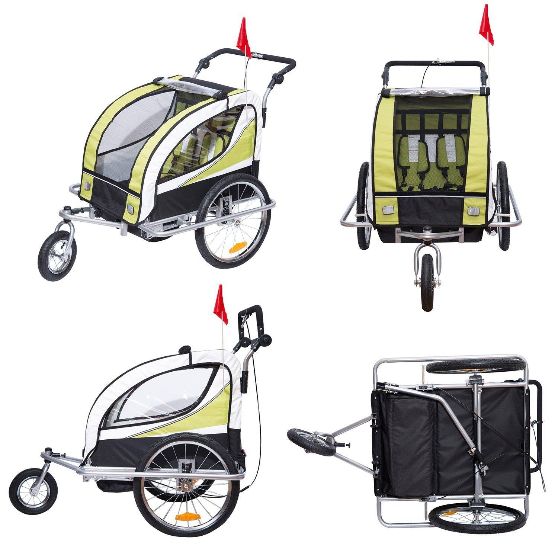 HOMCOM Remolque para Bicicleta Tipo Carro con Barra de Paseo para Niños de 2 Plazas con Rueda Delantera Giratoria 360° y Asiento Acolchado Carga Máx. 60kg ...