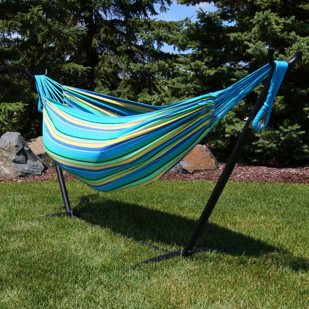 Sunnydaze Brazilian Double Hammock with Stand and Carrying Pouch, 2 Person Portable Bed – for Indoor or Outdoor Patio, Yard, and Porch Sea Grass