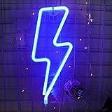 Neon Signs Lightning Bolt funciona con pilas y alimentado por USB oficina regalos de Navidad NELB decoraci/ón de pared para sala de estar decoraci/ón de fiestas luces LED de color blanco c/álido