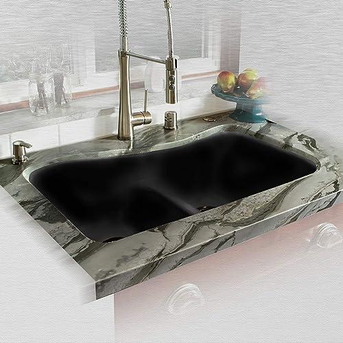 Miseno MCI76-4UM-LD-78 Miseno MCI76-4UM-LD 33 Double Basin Undermount Cast Iron Kitchen Sink