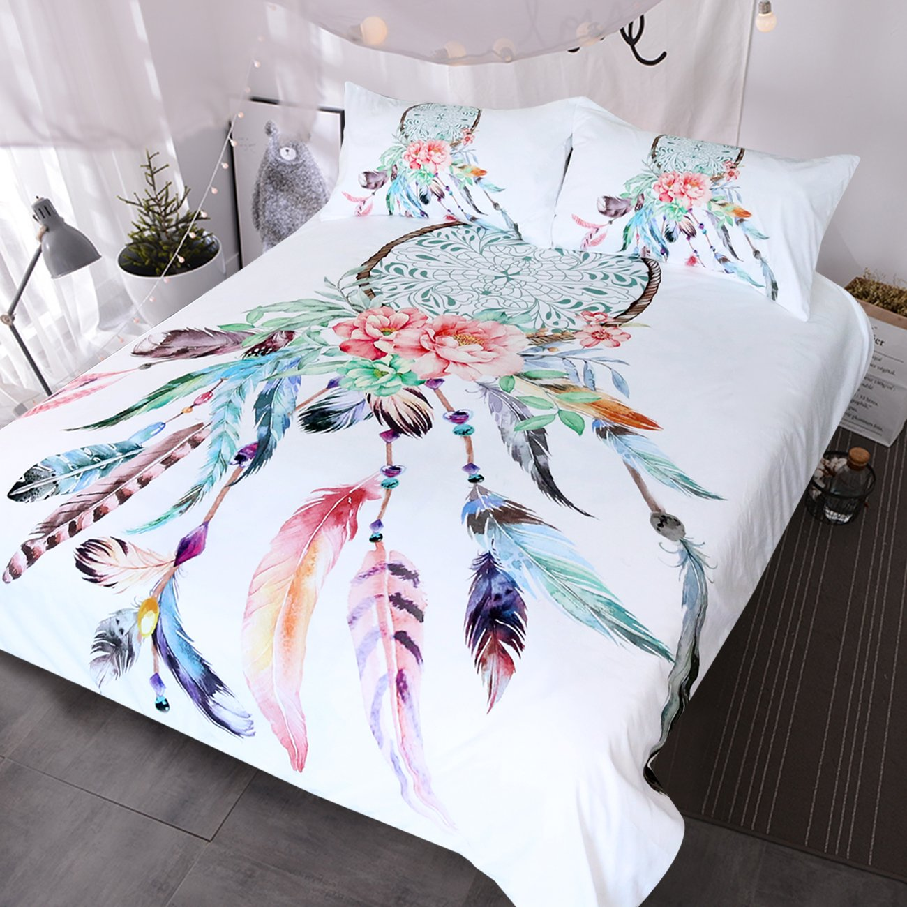 BlessLiving Big Dreamcatcher Colors Bedding, 3 Piece Dream Catcher Duvet Cover Set, Boho Doona Cover Hippie Bedspread Coverlet (Full, White)