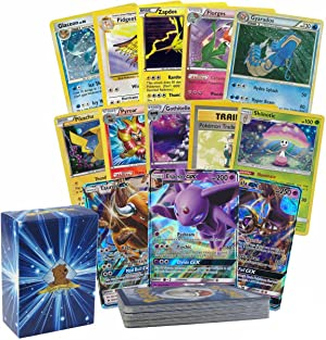 31 Assorted Pokemon Cards - 1 Ultra Rare GX, 4 Rares, and 6 Holographic Rares - Authentic with No Duplication - Includes Golden Groundhog Deck Storage Box
