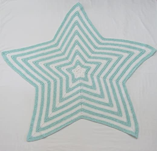 Crocheted Blue and White Star Shaped Baby Blanket, Made in USA