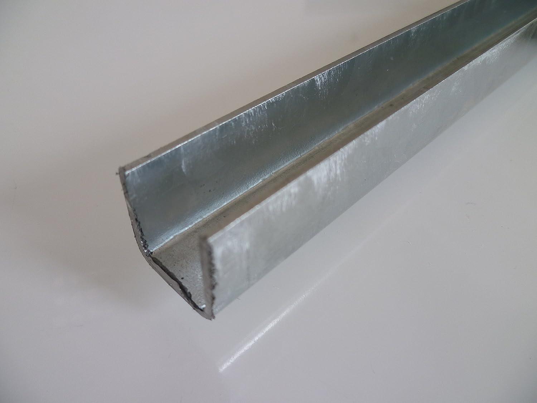 B & D Metal Steel U-Profile, Galvanised 20 x 1.5 mm Isosceles in Lengths 1500 mm +/-5 mm S235 (1.0038 ST37) Side Profile Edging Profile Galvanized B&T