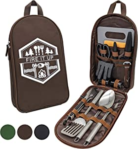 13 PC Grilling and Camping Cooking Set for The Outdoors BBQ - Stainless Steel Camp Kitchen Equipment Cookware Grill Tool Camping Accessories Kit with Lightweight Stylish Crossbody Carrying Bag