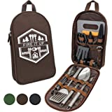 13 PC Grilling and Cooking Utensils for The Outdoors Barbeque - High Grade Stainless Steel Camping Kitchen Cookware…