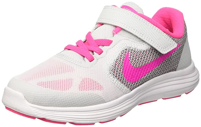 Nike Kids Revolution 3 Little Kid Pure Platinum/Pink Blast/Wolfgrey/White Girls Shoes