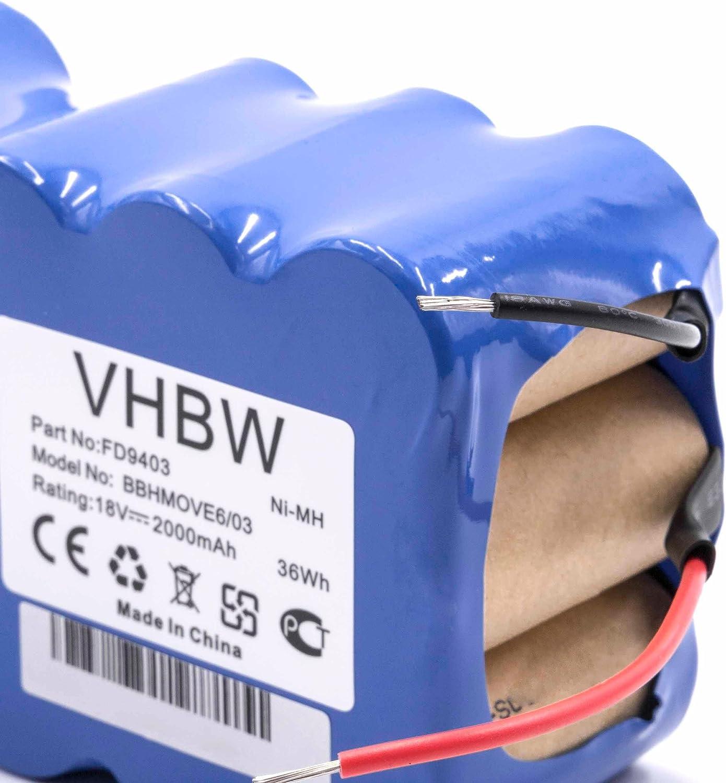 vhbw NiMH batería 2000mAh (18V) para aspiradora robot autónomo de ...