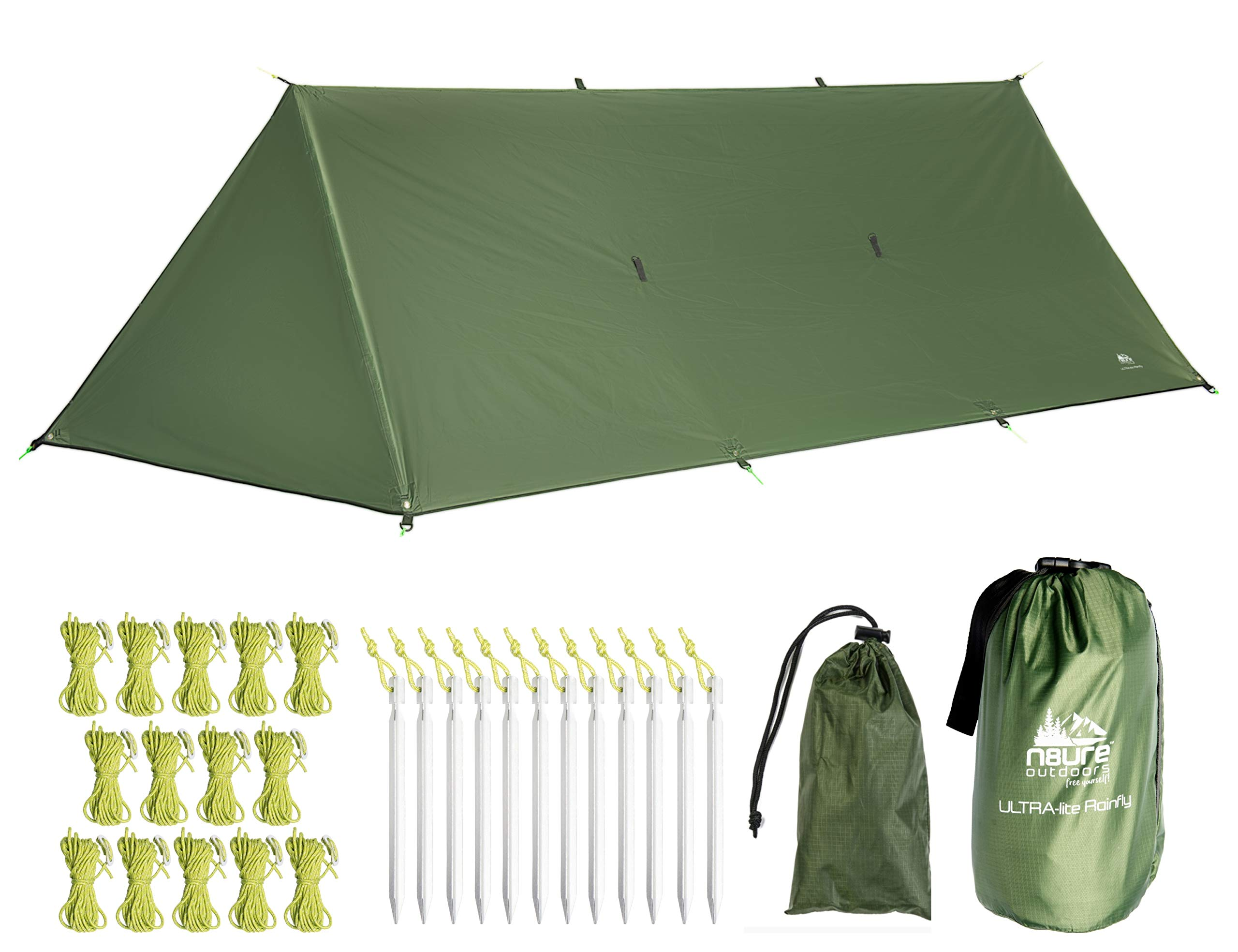 Premium Rainfly Tarp 10x10x16' Waterproof Ripstop Nylon Hammock Camping Shelter Ultralight Trekking Tent Canopy 20 x Tie-Outs Backpack Hike Bushcraft Survival Gear Includes Stakes Ropes (Army Green) by N8URE Outdoors
