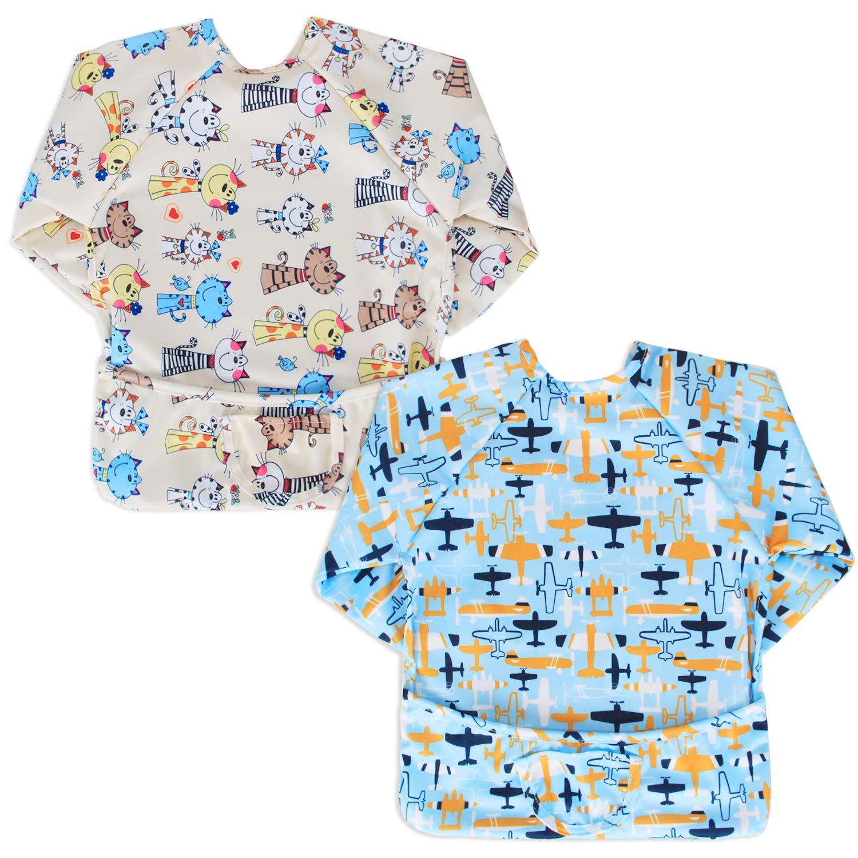 Luxja Baby Waterproof Sleeved Bib Long Sleeve Bib for Toddler 6-24 Months,