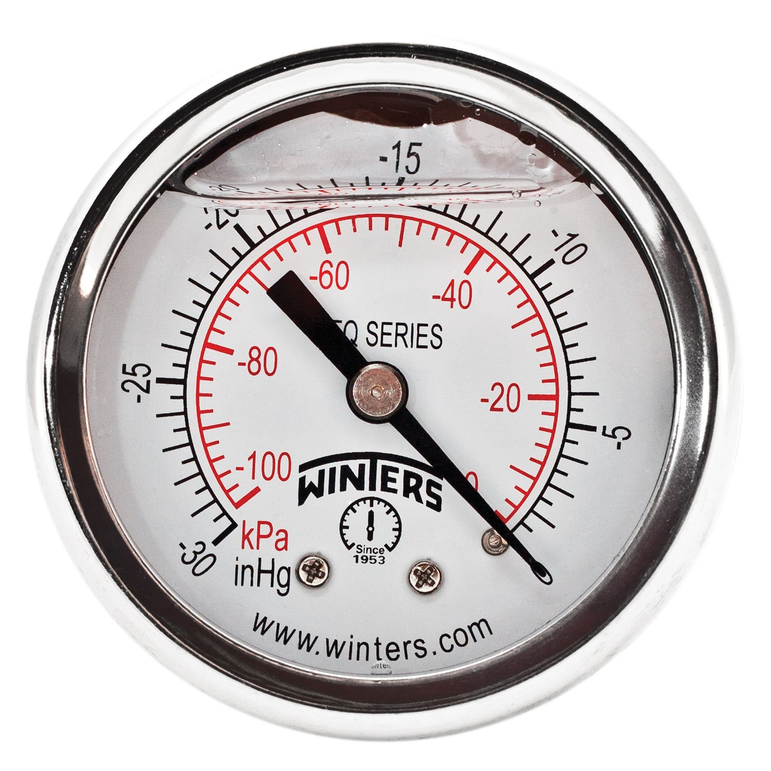"""Winters PFQ Series Stainless Steel 304 Dual Scale Liquid Filled Pressure Gauge with Brass Internals, 30""""Hg Vacuum/kpa, 2"""" Dial Display, +/-2.5% Accuracy, 1/8"""" NPT Back Mount"""