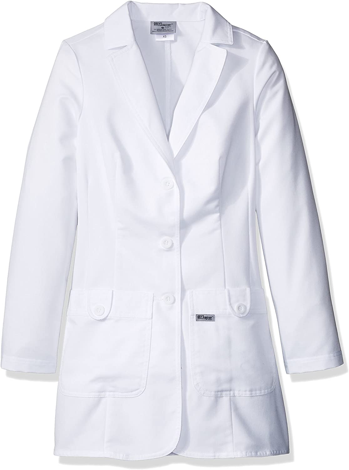 Grey's Anatomy Women's 32 Inch Two Pocket Fitted Lab Coat: Clothing