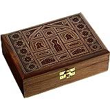 ShalinIndia - Scatola per gioielli in legno, ottima idea regalo per una ragazza; dimensioni della scatola 17.78 cm x 12.7 cm x 5.84 cm
