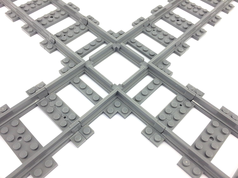 Custom 3D Printed Lego RC Compatible Plastic Rail 2x 90 Degree Cross Train Track