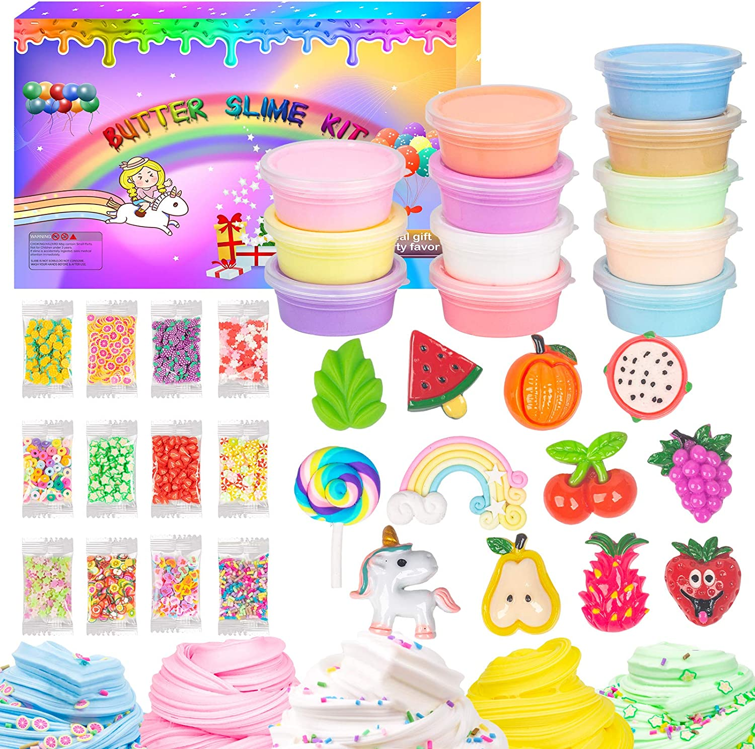 WUJYLY 12 Pack Butter Slime Kit for Girls Boys,12 Pack Colorful Rainbow Slime and So Cute 12 Slime Charms Sprinkles, Soft and Non-Stick,Nice Gift for Kids Birthday Valentine's Day Slime Toy