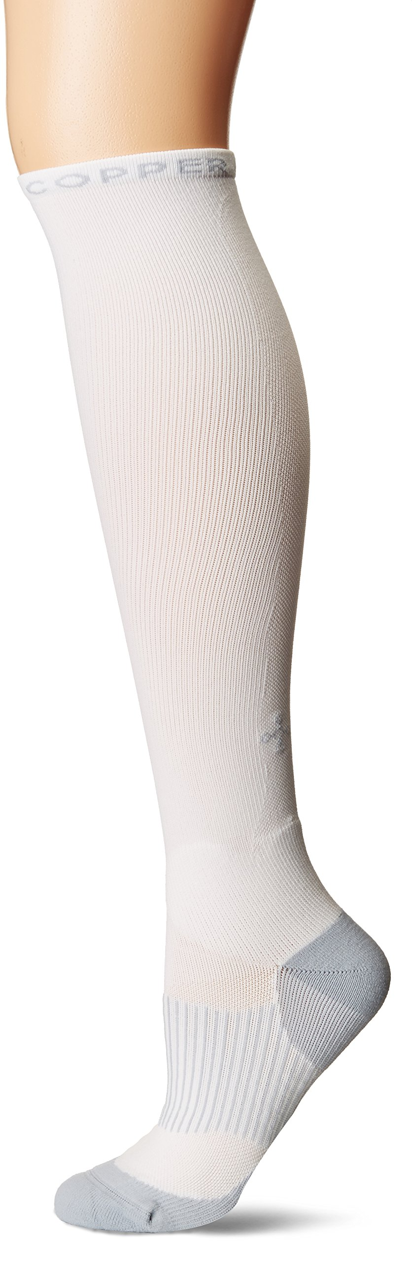 Tommie Copper Women's Performance Compression Over The Calf Socks, White w/Grey, 4-6.5 by Tommie Copper