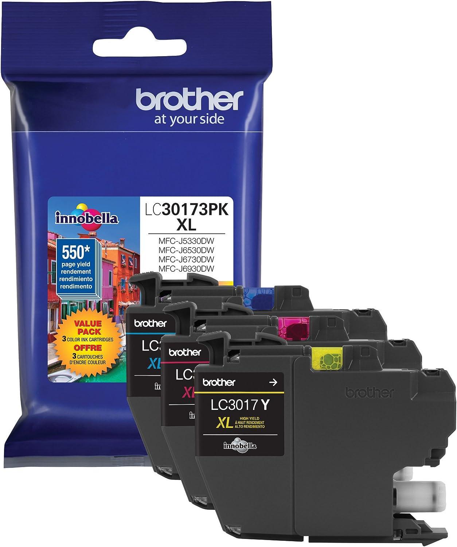 Brother Printer LC30173PK High Yield XL 3 Pack Ink Cartridges- 1 Ea: Cyan/Magenta/Yellow Ink
