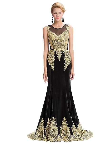 Belle Long Prom Dress - Vestido - ajustado - Sin mangas - para mujer Negro negro