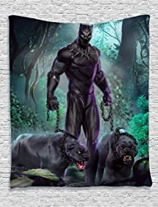 Black Panther Tapestry Movie Theme Wall Hanging Home Decor for Living Room Bedroom Dorm Room 50x60 Inch