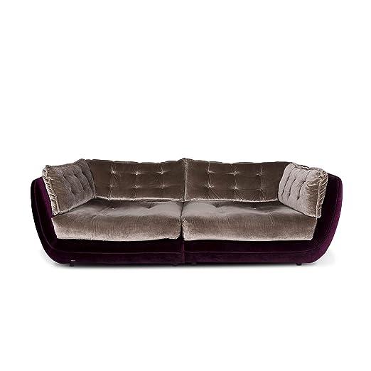 Bretz Cupcake Velvet Fabric Sofa Beige Five Seater Couch ...
