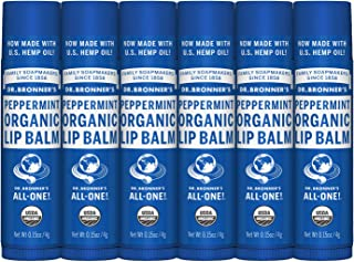 product image for Dr. Bronner's - Organic Lip Balm (.15 ounce, 6-Pack) - Unscented, Made with Organic Beeswax and Avocado Oil, For Dry Lips, Hands, Chin or Cheeks, Jojoba Oil for Added Moisture, Soothing (Peppermint)
