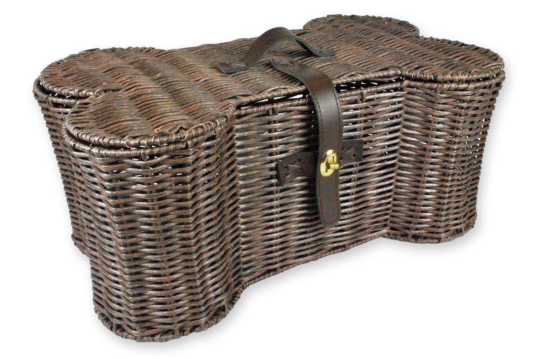 Bone Dry DII Large Wicker-Like Bone Shape Storage Basket, 24x15x9, Pet Organizer Bin for Home Décor, Pet Toy, Blankets, Leashes and Food
