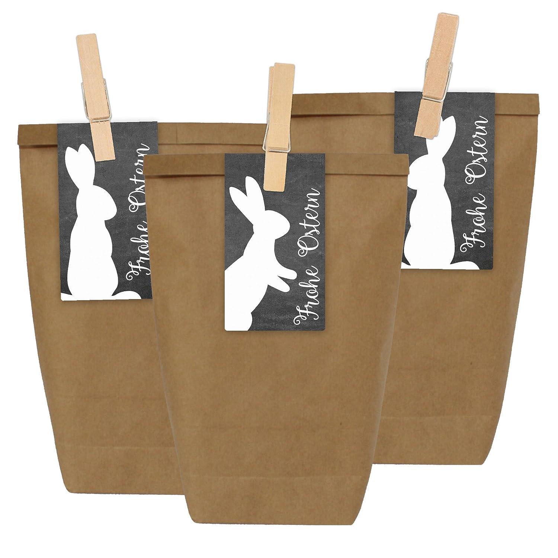 Papierdrachen 12 Sacchetti regalo DIY per la Pasqua da riempire - Nido di Pasqua Do It Yourself con 12 sacchetti di carta e adesivi di coniglietto di Pasqua - Design 1