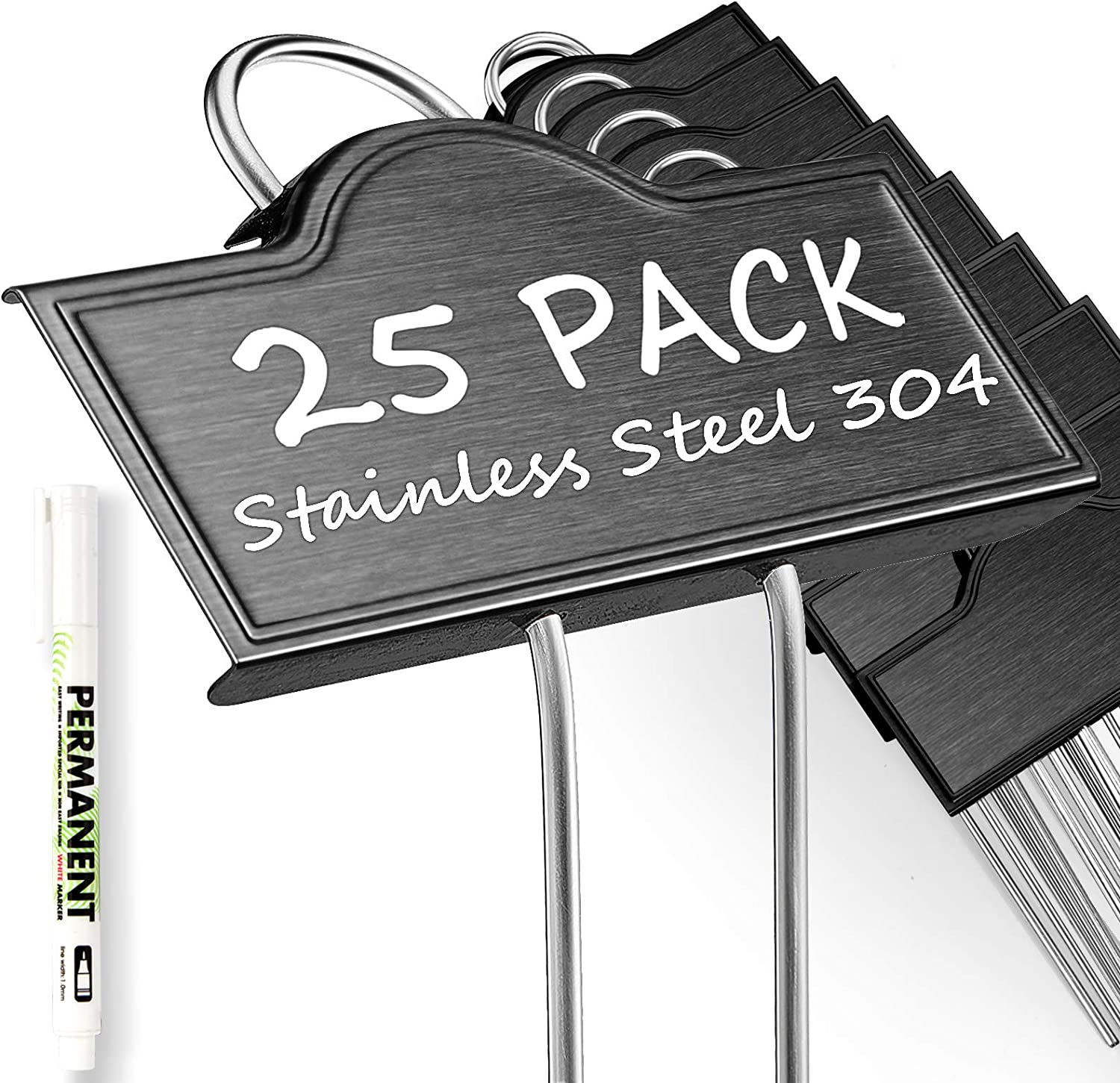 Metal Plant Labels Weatherproof 25 Pack, Black Garden Markers Tags Outdoor for Plants Vegetables Herb Seedlings Flowers with a Pen, Label Area 3.74'' x 1.39'' Height 10.75 Inch