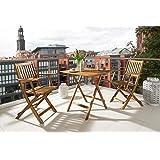 SAM® Conjunto para jardín resistente, 3 piezas, mueble de madera de acacia, 1 mesa + 2 sillas plegables aceitadas. Madera con vetas muy bonitas.