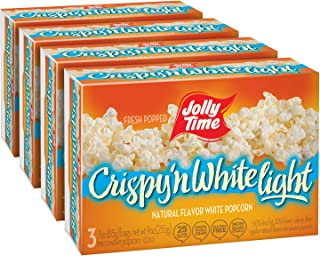 product image for JOLLY TIME Crispy N' White Light | Tender Natural Plain Microwave Popcorn - Low Calorie, Low Fat Gluten-Free Healthy Snack Food (3-Count Box, Pack of 4)