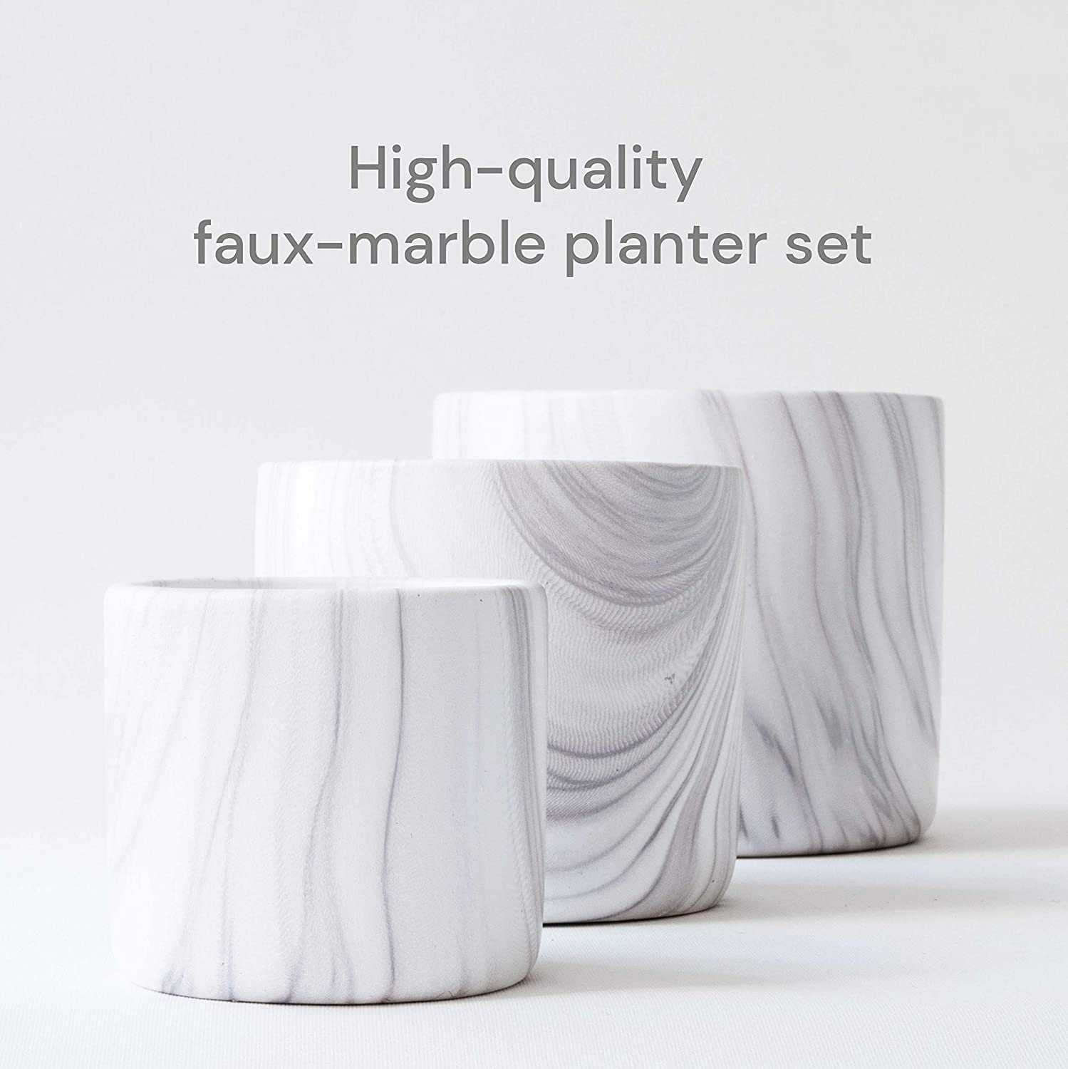 Succulent Set of 3 White Ceramic Planter Pots by Dodoko Flowers Small to Medium pots with Drainage Hole for Plants