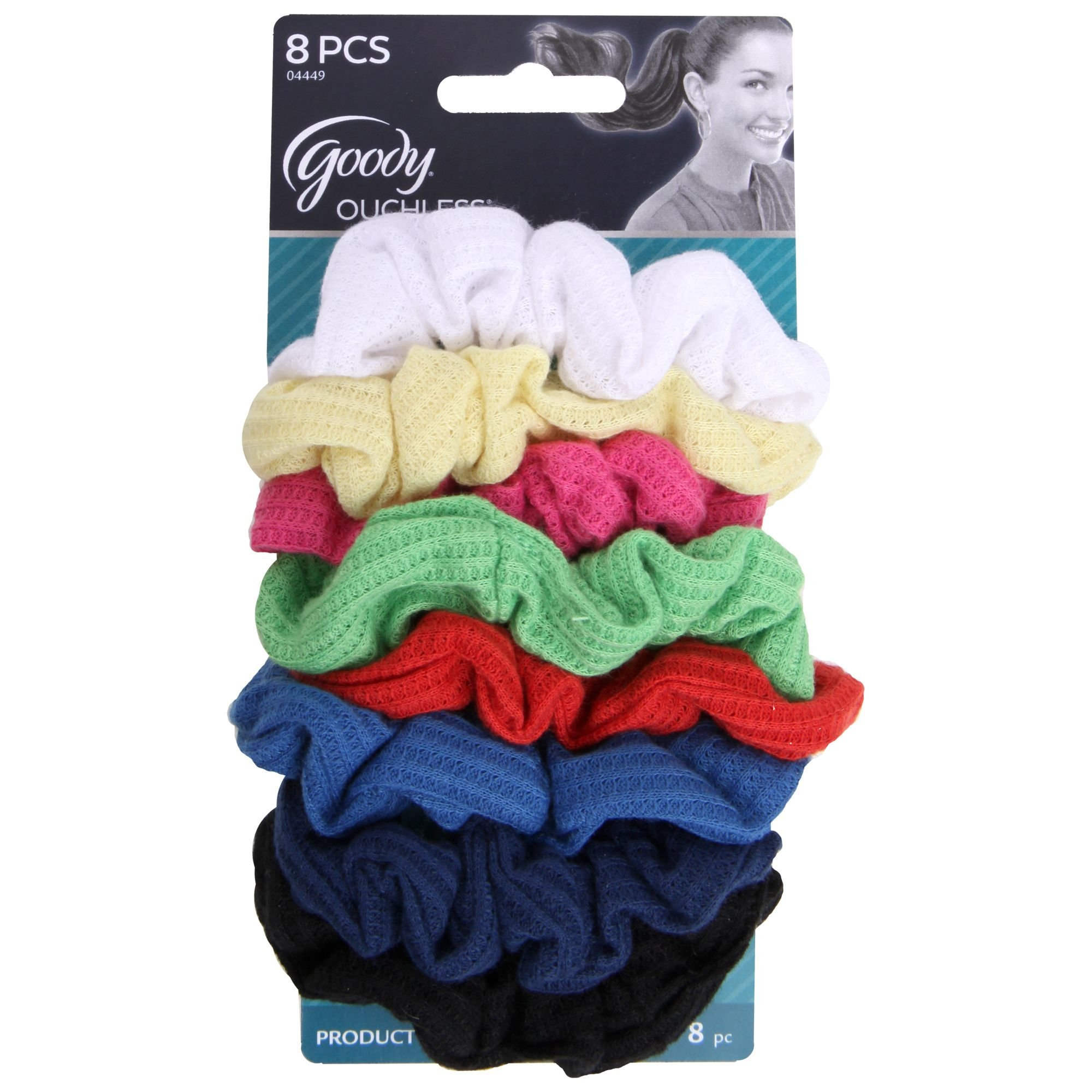 Goody - Ouchless Ribbed Hair Scrunchies/Wraps - 8 Pk, Assorted Colors