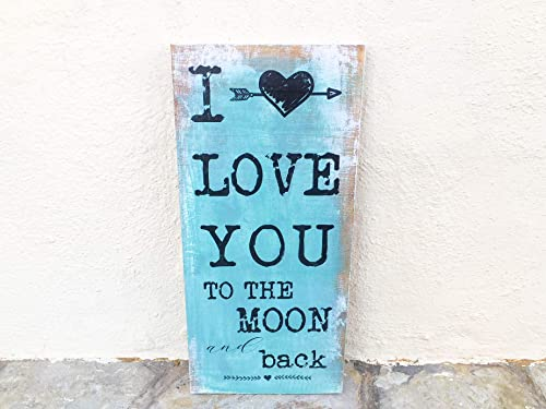 Cartel vintage de madera romántico - I love you to the moon ...