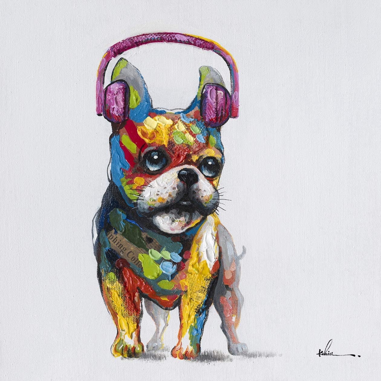 French Bulldog Headphones Wall Art Modern Printing On Canvas Painting with Hand Embellished Home D cor 28 x 28