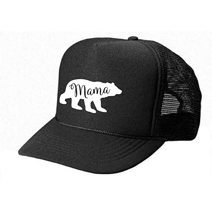 29029bf5ba7a0 Epic Designs Womens Mama Bear Trucker Hat - Unisex Size Custom Design Hat ( Black-White Print) at Amazon Women s Clothing store