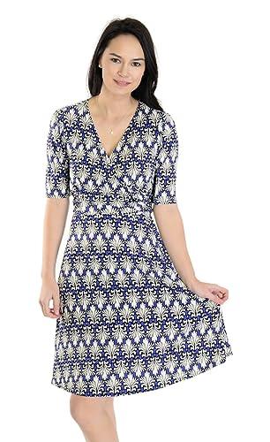 Donna Morgan Women's Wrap Dress, Ivory/Cerulean Blue, 2