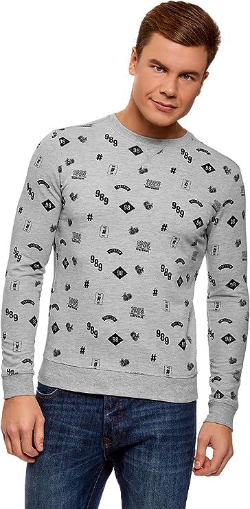 TALLA XL. oodji Ultra Hombre Suéter Estampado de Algodón